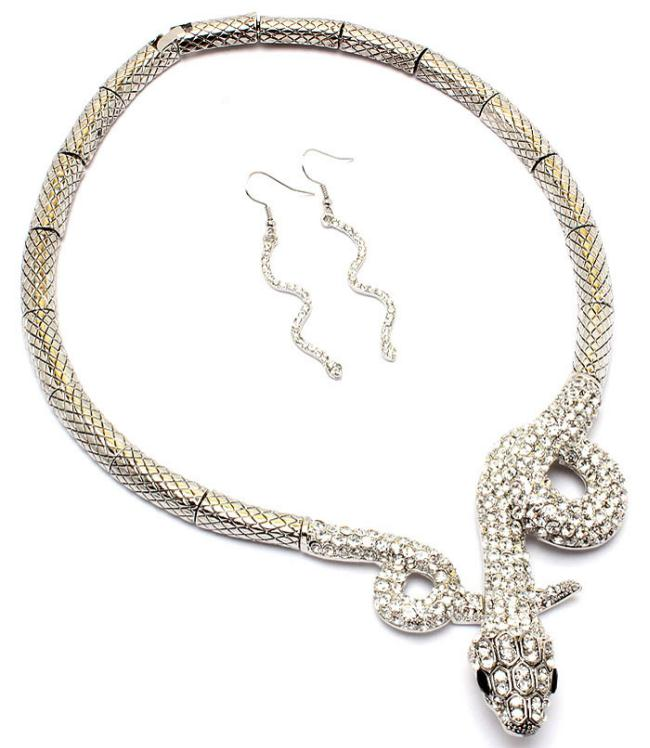 clear snake choker necklace pierced earrings set reptile